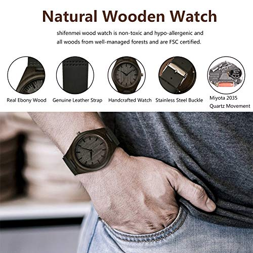 Engraved Wood Watches, shifenmei S5520 Wooden Watch Personalized Gifts Customized Watch for Men Women Son Husband Wife Birthday Wedding Anniversary Graduation Christmas (520-for Someone You Love)