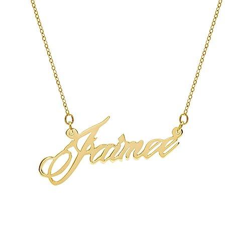 b2775c8b6257c Amazon.com: AIJIAO Customized Name Necklace Personalized Script Font ...