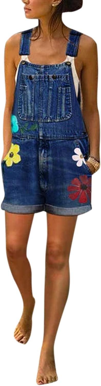 Zilcremo Jeanslatzhose Damen Kurz Overall Blumen Latzhose Jeans Hose H/üftjeans Baggy Boyfriend Stylisch Jumpsuit Denim Playsuit /Übergr/ö/ße