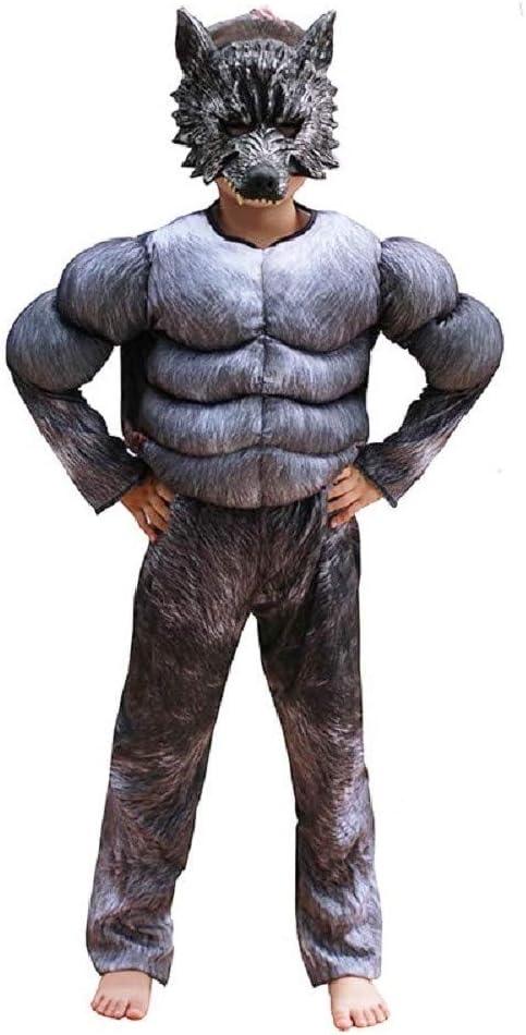 EVRYLON Disfraz de Hombre Lobo de Carnaval Busto musculoso máscara de Hombre Lobo Talla m 6/7 años Werewolf Cosplay
