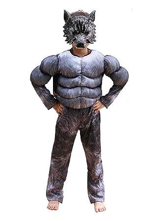 EVRYLON Disfraz de Hombre Lobo de Carnaval Busto musculoso máscara ...