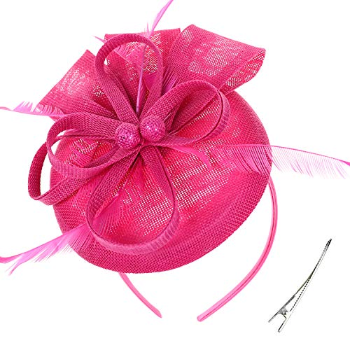 DRESHOW Fascinator Hat Cocktail Tea Party Hat Feather Ribbon Bow Pillbox Hat with Hair Clip and Headband for Women and Girls -