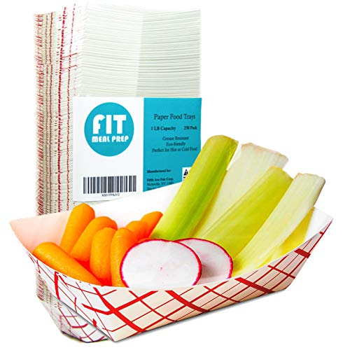 ([250 Pack] 1 lb Heavy Duty Disposable Red Check Paper Food Trays Grease Resistant Fast Food Paperboard Boat Basket for Parties Fairs Picnics Carnivals, Holds Tacos Nachos Fries Hot Corn)