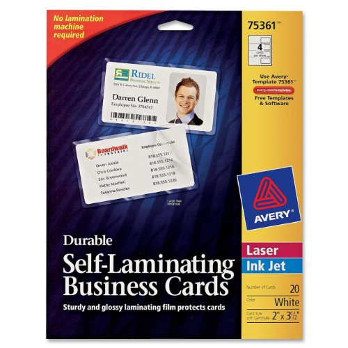 Avery Durable Self- Laminating Business Cards Pack of 20, White (75361) by Avery