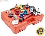 COLIBROX--14pc Radiator Pump Pressure Leak Tester Checker Kit Aluminum Adapters w/ Case. Hand pump to 35 PSI, 12 Aluminum Radiator Adapters, Thermometer, Form Fitted Case.