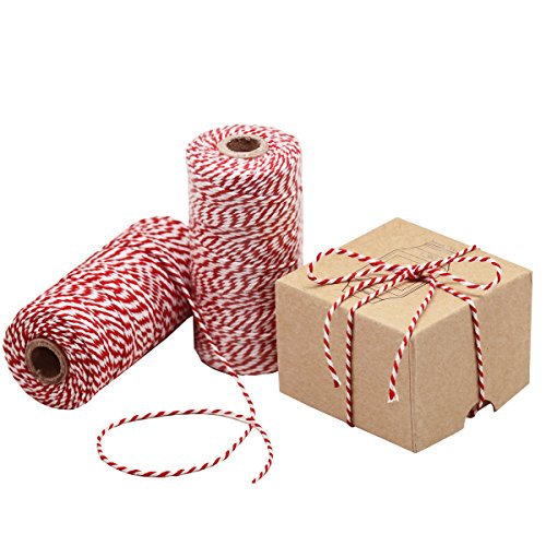 Natural Cotton Bakers Twine Red & White 100M (328 Feet), Packing String, Durable Rope for Gardening, Decoration, Tying Cake and Pastry Boxes, DIY Crafts & Gift Wrapping, for Art and Craft -