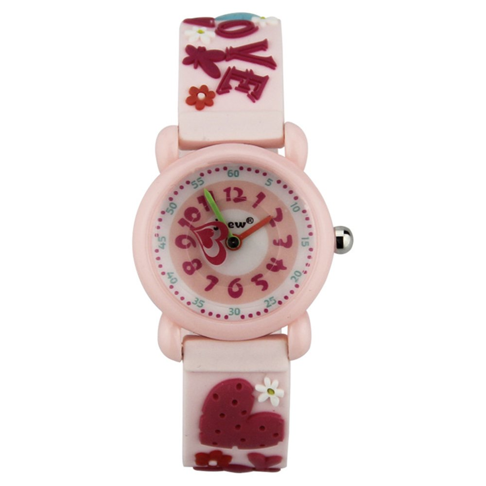 Kid Watch 3D Cute Cartoon Silicone Wristwatches Quartz Watch 30M Waterproof Time Teacher Gift for Little Girls Boy Children (Love, Pink) by Timemade