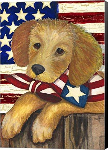 Patriotic Puppy by Laurie Korsgaden Canvas Art