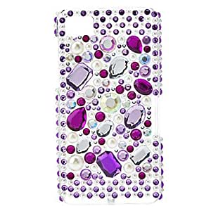 Purple Diamond and Pearl Pattern Hard Case with Rhinestone for Blackberry Z10