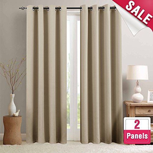 Moderate Blackout Curtains for Living Room 84 inch Length Bedroom Window Curtains Triple Weave Room Darkening Curtain Panels Thermal Insulated Grommet Top Drapes, Taupe, 1 Pair (Living Room Curtains Window)