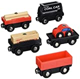wooden train cars - Orbrium Toys Cargo Train Car Set for Wooden Railway, 5-Piece
