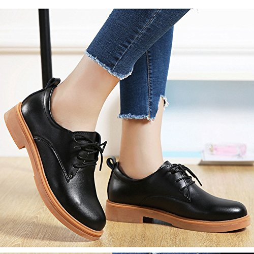 up Shoes T Lace Toe Retro Casual Heel JULY Oxfords Low Women's Black Round Classic Shoes qq0Oaw