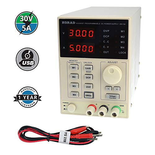 KORAD KA3005P - Programmable Precision Variable Adjustable 30V, 5A DC Linear Power Supply Digital Regulated Lab Grade ()