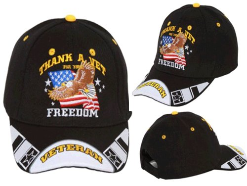 American Eagle Baseball Hat (Thank a Vet for Your Freedom, Patriotic Bald Eagle with American Flag Black and White Adjustable Cap, Military Veteran, Patriotic Hat with Stripes on Bill, Black with White Stripes with Striking Design, Adjustable Strap to Fit Most Men, Women and Older Teens)