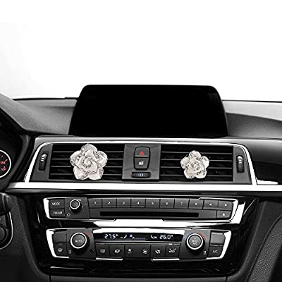 Mini-Factory Car Bling Decoration, Bling Car Interior Accessories Air Vent Sparkle Rhinestone Diamond Clip - White Flowers (1 Pair): Automotive