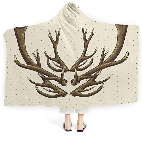 iPrint Hooded Blanket Antlers Decor Deluxe Blanket Relieves Anxiety Stress Agitation Deer Blossoms Bouquet Butterfly Hot Air Ballon Springtime Cartoon Art Decorative (Adults 60