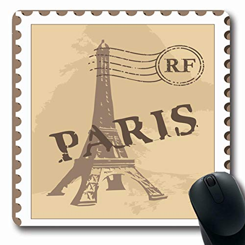 Ahawoso Mousepad Oblong 7.9x9.8 Post Paris Postal Stamp Grungy Antique Architecture Capital City Correspondence Europe Scratch French Non-Slip Rubber Mouse Pad Office Computer Laptop Game Mat