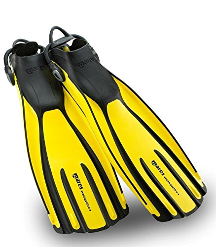 New Mares Avanti Quattro Plus Open Heel Scuba Diving Fins (Small) with New Style Bungee Heel Strap - Yellow