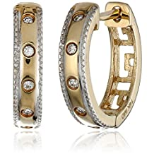14k Yellow and White Gold Colored Diamond Huggie Earrings