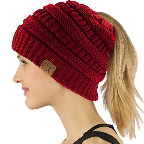 Ponytail Messy Bun BeanieTail Soft Winter Knit Stretchy Beanie Hat Cap Solid Burgundy -