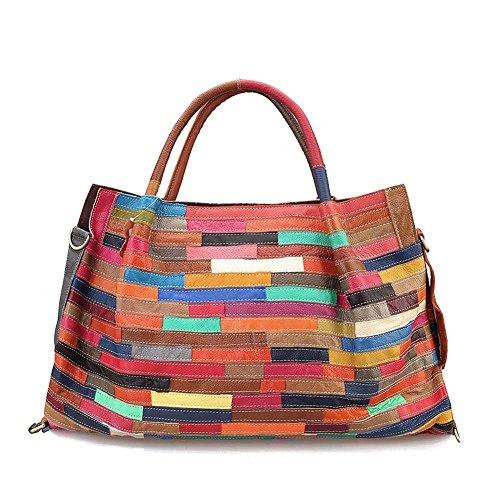 Viviesta Women's Real Genuine Leather Striped Patchwork Extra Large Hobo Shoulder Bag Handbag - Rainbow ()