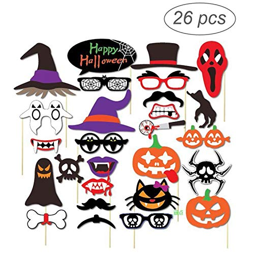 Party Diy Decorations - 26pcs Halloween Trick Photo Booth Props - Decorations Party Party Decorations Coffin Halloween Frame Photo Booth Classic Witch Funny Feather Wolf Christmas Photobooth]()