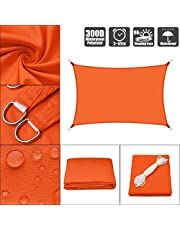 Waterproof Rectangle Sun Shade Sail UV Block Tear Proof Shade Canopy for Patio Garden Swimming Pool Outdoor Carport (Color : Orange, Size : 2.5x3m (8x10ft))