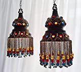 BR188 PAIR / Twin Jeweled Pendants Brass Lampshade With Beads & Chains