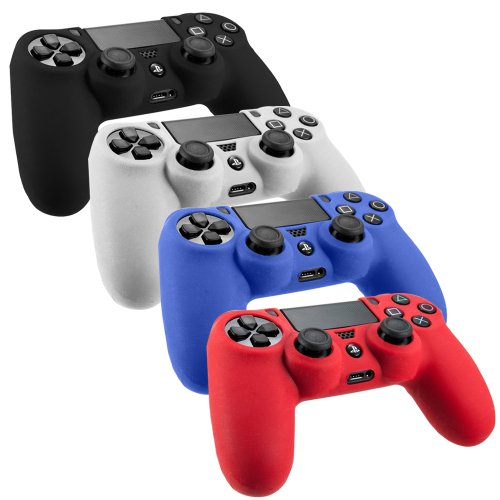 SlickBlue Pack of 4 Color Combo Flexible Silicone Protective Case For Sony PS4 Game Controller - Black/Red/Blue/White [PlayStation 4]