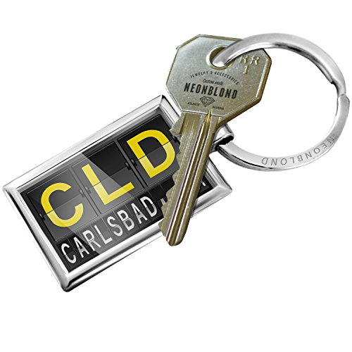 Keychain CLD Airport Code for Carlsbad, CA - NEONBLOND (Air Cld)