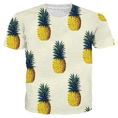 Fashion Fruit Funny T-Shirt Women Men Tshirt Pineapple Print Harajuku Tops Tee Casual Short Sleeve Summer Men's 3D T Shirt ()