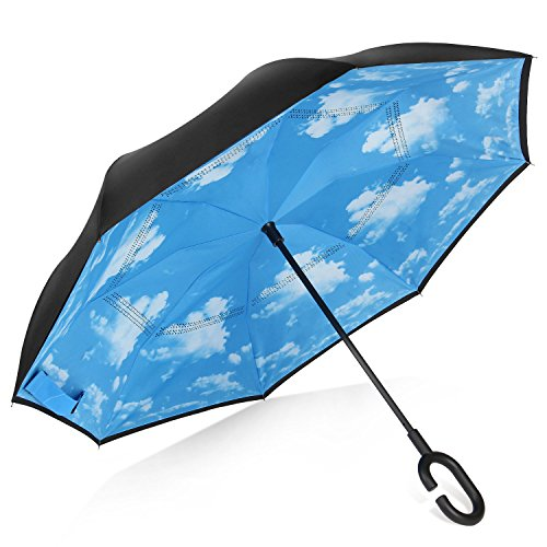 Rainlax Inverted Umbrella Double Layer Windproof Anti UV Protection Umbrellas for Car Rain Outdoor with C-Shaped Handle(Sky Blue) (Umbrellas Walmart Patio)
