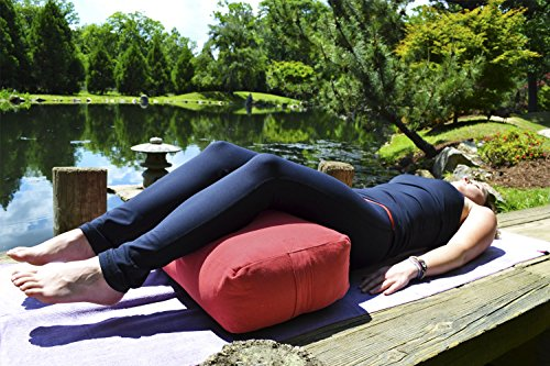 YogaAccessories Supportive Rectangular Cotton Yoga Bolster - Cardinal Red