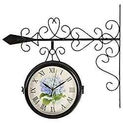 Trademark Innovations 7.5 Diameter Double Sided Vintage Wrought Iron Wall Hanging Clock by