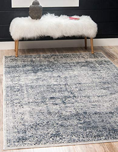 Unique Loom Chateau Collection Distressed Vintage Traditional Textured Dark Blue Area Rug 5 0 x 8 0
