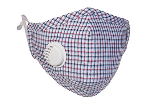 Healthy Air Mask® PM2.5 Red Plaid Cold and Flu Mask with Exhale Valve + 4 N99 Filter Set (Available in Red Plaid & Blue Plaid)