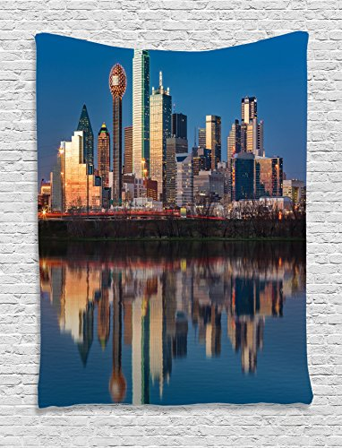 Ambesonne Apartment Decor Collection, Dallas Skyline Reflected in Trinity River at Sunset High Rise Business Center Image, Bedroom Living Room Dorm Wall Hanging Tapestry, Teal - The Beach Pictures At Broadway