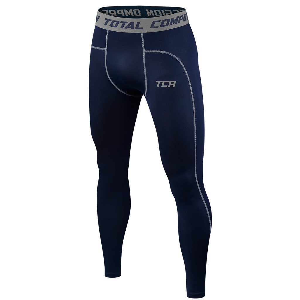 TCA Men's Boys Pro Performance Compression Base Layer Thermal Tights/Leggings - Navy Eclipse XXL by TCA