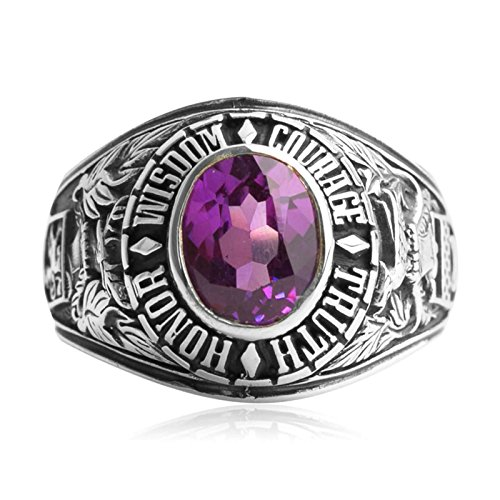 Bishilin Silver Plated Rings for Men with Oval Purple Gem Partner Rings Silver Size 12 by Bishilin