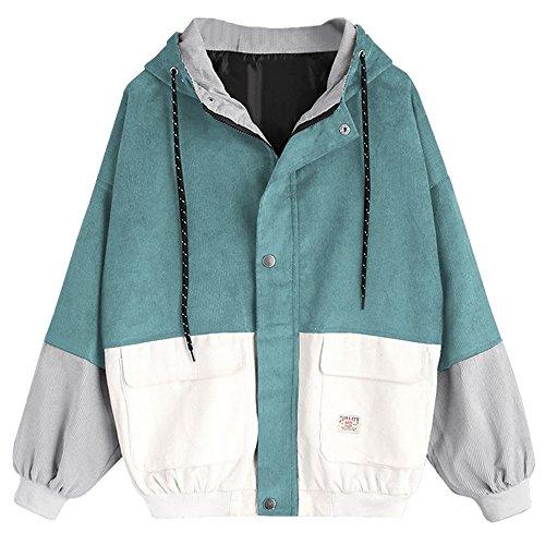 ZAFUL Women's Corduroy Loose Hooded Jacket Vintage Color Blocking Raglan Sleeve Casual Coat Windbreaker Blue Green S ()