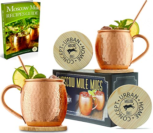 Moscow Mule Gift Set - Mule Mugs Made of 100% Pure Copper - Moscow Mule Mug Set INCLUDES Copper Straws, Coasters, & Moscow Mule Recipe EBook - Copper Cups Make Great Gifts