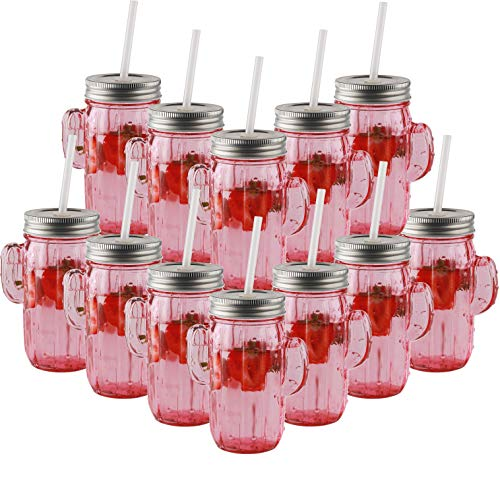 Circleware 06367 Huge Set of 12 Mason Jars Drinking Glasses with Metal Lids and Hard Straws Glassware for Water Beer and Kitchen & Home Decor Bar Dining Beverage Gifts, 15.5 oz, Pink Cactus (Cactus A Barrel What Is)