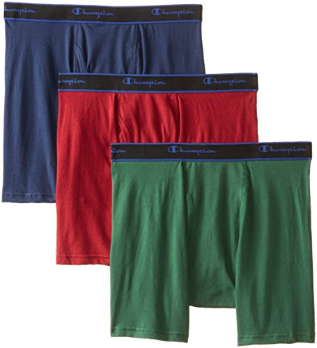 Champion Men's 3-Pack Performance Cotton Regular Leg Boxer Briefs, Assorted Color, Large