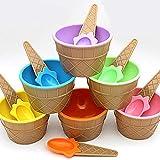 Flowop Cartoon Candy Color Ice Cream Bowl with Spoon Kids Ice Cream Tool, Frozen Yogurt Cups, Festive Dessert Bowls, Assorted Colors