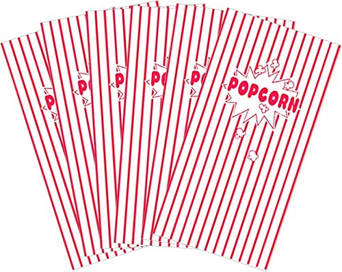Popcorn Bags, Paper Party Bags Striped Red and White - Great for Movie Night or Movie Party Theme, Theater Themed Decorations or Carnival Party Circus etc. - 50 -