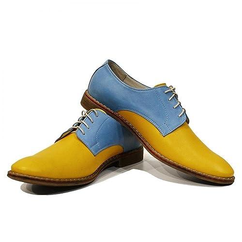 1610a5d6b4f96 Modello Gino - Handmade Italian Leather Mens Color Yellow Oxfords ...