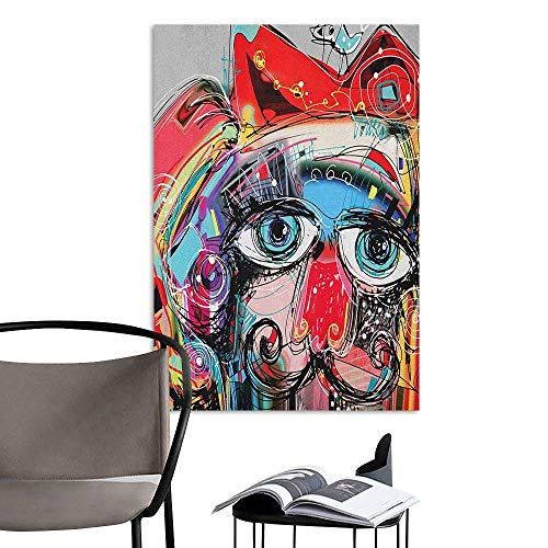 (Brandosn Canvas Print Wall Art Art Grafitti Like Sketchy Style Colorful Painting with Human Like Face Dog Animal Image Multi Colored Hall Fashion W24 x)