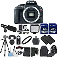 Canon EOS Rebel SL1 18.0 MP CMOS Digital SLR Camera Body Only with 2pc Commander 16GB Memory Cards + LED Light + Extra Battery + Card Reader + UV Filter + Backpack Case + Tripod (14 Items) At A Glance Review Image