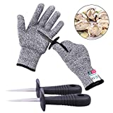 Oyster Shucking Knife -High Performance Level 5 Protection Food Grade Cut Resistant Gloves Stainless Steel Clam Shellfish Seafood Opener (1 pair gloves + 2 knives)(M)