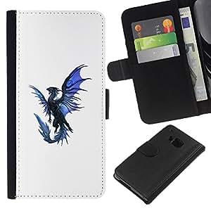 Ihec-Tech / Negro Flip PU Cuero Cover Case para HTC One M7 - Dragón Azul Negro Flying criatura mítica